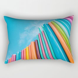 Colorful Rainbow Pipes Against Blue Sky Rectangular Pillow