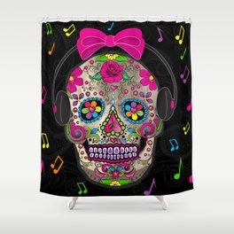 Sugar Skull Music Shower Curtain
