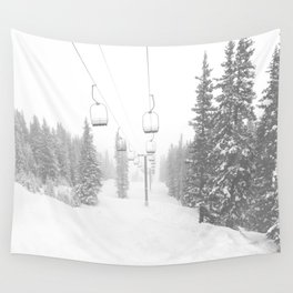 Empty Chairlift // Alone on the Mountain at Copper Whiteout Conditions Foggy Snowfall Wall Tapestry