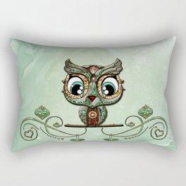 Cute little owl, green diamond Rectangular Pillow