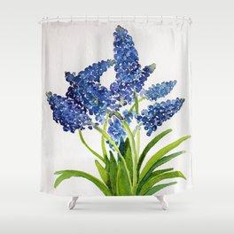 Watercolour Grape Hyacinth Shower Curtain