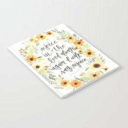 watercolor sunflowers Bible verse /// rejoice in the Lord always Notebook