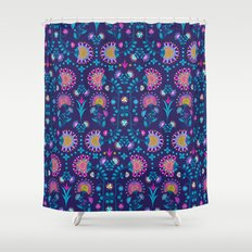 Folkloric In Blue Shower Curtain
