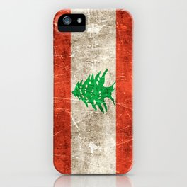 Vintage Aged and Scratched Lebanese Flag iPhone Case