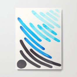 Cerulean Blue Watercolor Colorful Stripes Mid Century Modern Art Primitive Abstract Art Metal Print