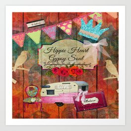 Hippie Heart Gypsy Soul, Retro Camper Art Print