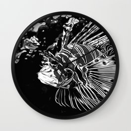 lionfish vector art black white Wall Clock