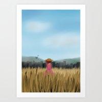 Girl In A Field Art Print