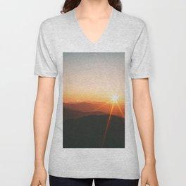Yellow Orange Mountain Parallax Sunrise Landscape Unisex V-Neck