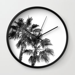 Big Sur Palms | Black and White Palm Trees California Summer Sky Beach Surfing Botanical Photography Wall Clock