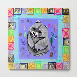 Bohemian Woodland Raccoon Metal Print