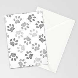 Black and grey paw print pattern Stationery Cards