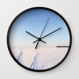 Footsteps in Snow on Lake Ice Wall Clock