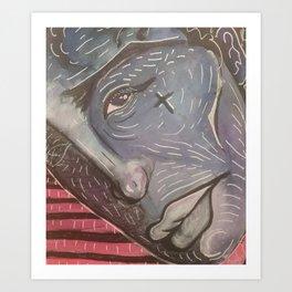 Blue Face Keep Going Art Print