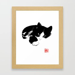 comfi cat Framed Art Print