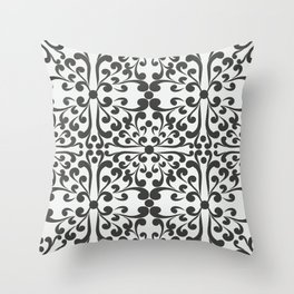 Indian Decorative Motifs-Black & White Throw Pillow