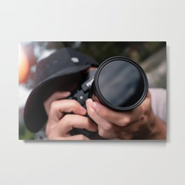 Professional Photographer taking a picture with the camera Metal Print