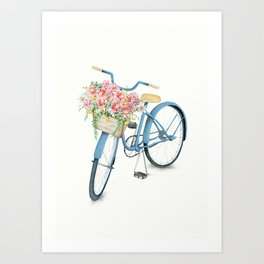 Blue Bicycle with Flowers in Basket Art Print