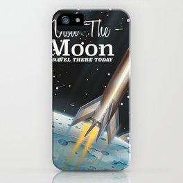 visit the moon vintage science fiction poster iPhone Case