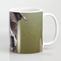 bull terrier Mugs featuring Staffordshire Bull Terrier by Carl Conway