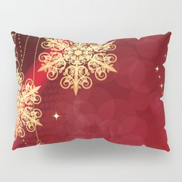 Pretty Christmas Ornaments Red Gold Holiday Decor Pillow Sham