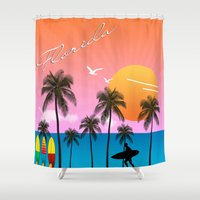 florida Shower Curtains featuring Florida  by mark ashkenazi