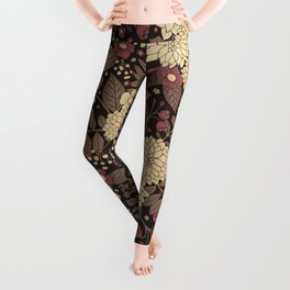 Pretty Brown, Taupe, & Mauve Floral Pattern Leggings