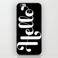 lettering iPhone & iPod Skins featuring Hello Lettering by Roberlan Borges