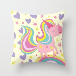 The magical rainbow unicorn Throw Pillow