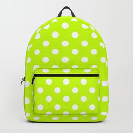 Small Polka Dots - White on Fluorescent Yellow Backpack