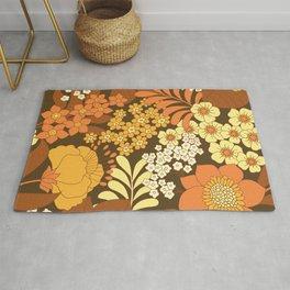 Brown, Yellow, Orange & Ivory Retro Flowers Rug