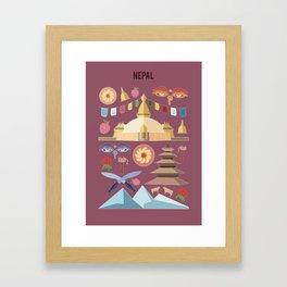 Nepal Illustration Framed Art Print