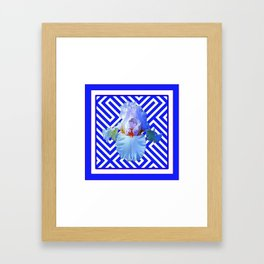 CONTEMPORARY BLUE & WHITE PATTERN IRIS PATTERN Framed Art Print