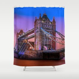 Beautiful Tower Bridge Across Thames At Romantic Evening Red Ultra HD Shower Curtain