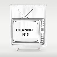 channel Shower Curtains featuring Channel No. 5 by Maison Sloth