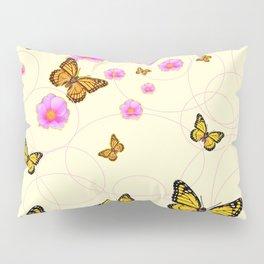 YELLOW-ORANGE MONARCH BUTTERFLIES PINK ROSES  MONTAGE Pillow Sham