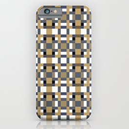 LOGAN caramel and indigo pattern on white iPhone Case