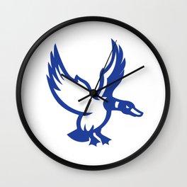 Mallard Duck Wings Landing Side Retro Wall Clock