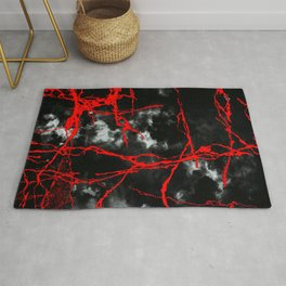 Horror Night Goth - Black and White,Red Rug