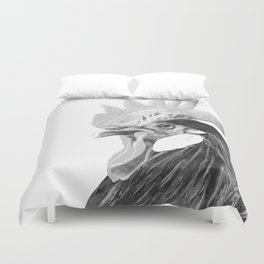 Black and White Rooster Duvet Cover