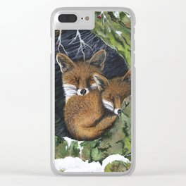 Sleepy Foxes Clear iPhone Case