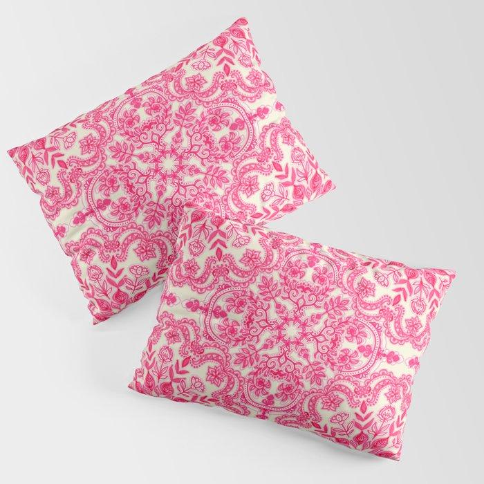 Hot Pink & Soft Cream Folk Art Pattern Kissenbezug