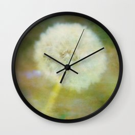 Dandelion Wishes Yellow Wall Clock