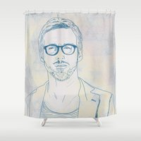 ryan gosling Shower Curtains featuring RYAN by Itxaso Beistegui Illustrations
