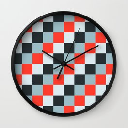 Stainless steel knife - Pixel patten in light gray , light blue and red Wall Clock