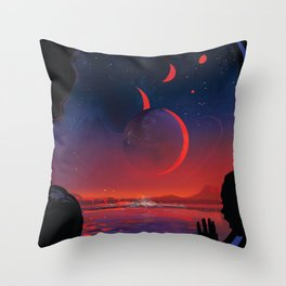 NASA Retro Space Travel Poster #13 - TRAPPIST-1e Throw Pillow