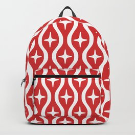 Mid century Modern Bulbous Star Pattern Red Backpack