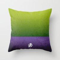 hulk Throw Pillows featuring Hulk by El Pigro