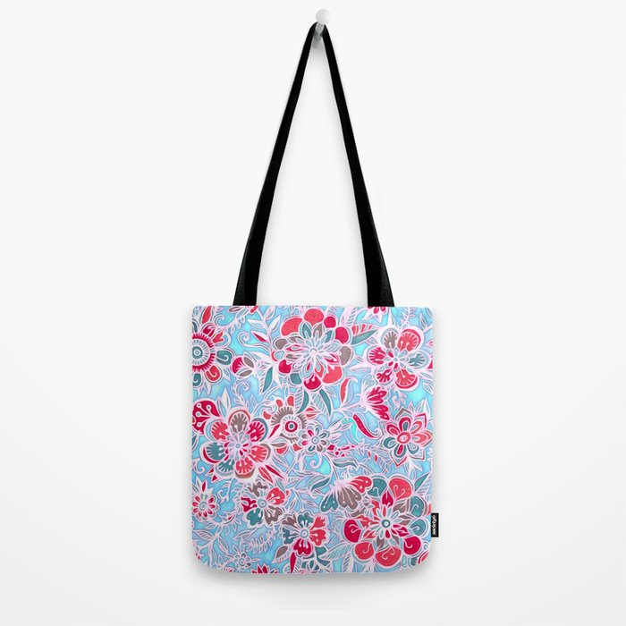 Sweet Spring Floral - cherry red & bright aqua Tote Bag
