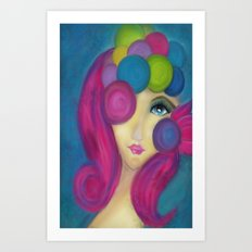 Blue Face Girl w/o Quote Art Print